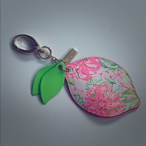 Lilly Pulitzer pink lemon keychain -NWT